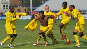 Aswad scores the equaliser at Welling