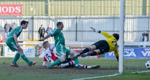 Stockley stabs the ball in from close range as Woking beat Wrexham 2-0