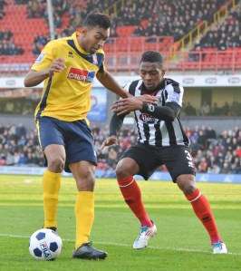 Kevin Betsy in Woking's defeat to Grimsby last season