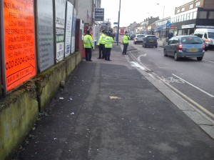 Police at the entrance of Park View Road on Saturday.