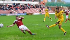Betsy fires a shot at goal as Woking lose 2-0 at Wrexham in October