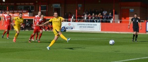 Gavin Williams scores in Woking's 3-1 loss at Alfreton earlier in the season