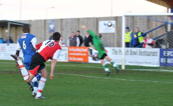 Palmer smashes the ball home against Bishop's Stortford