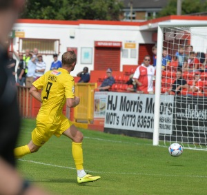 Rendell scores his first of two goals at Alfreton