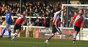 Goddard scores against The Silkmen at Kingfield last season.