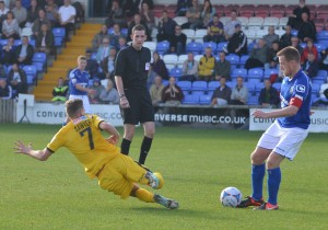 Lee Sawyer slides in against Macclesfield last season.