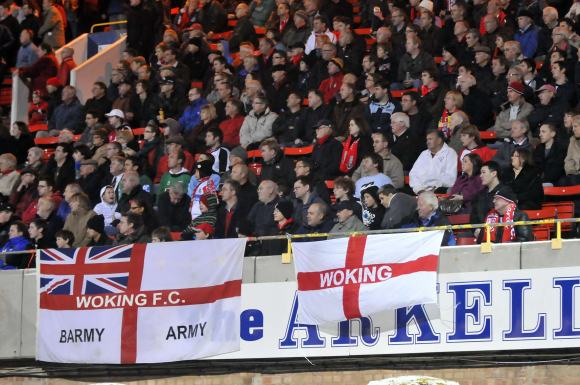 Woking are backed by a large travelling support