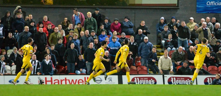 Betsy celebrates against Grimsby last season