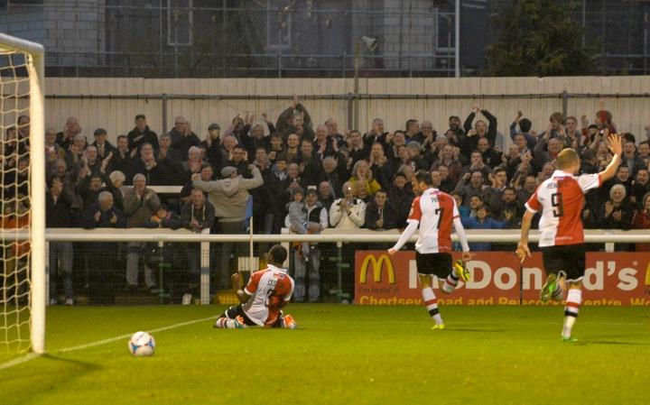 Cestor celebrates an equaliser against Barnet last season