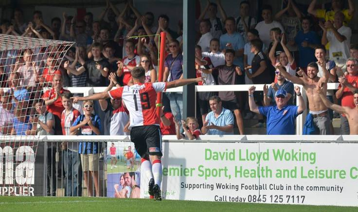 Pattie celebrates opening his Woking against Chester