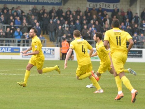 Josh Payne celebrates last season's winner at Chester